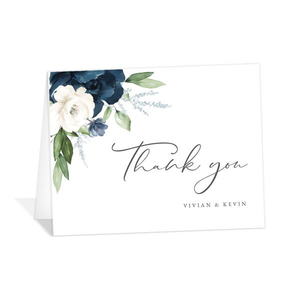 Beloved Floral Thank You Card front in blue