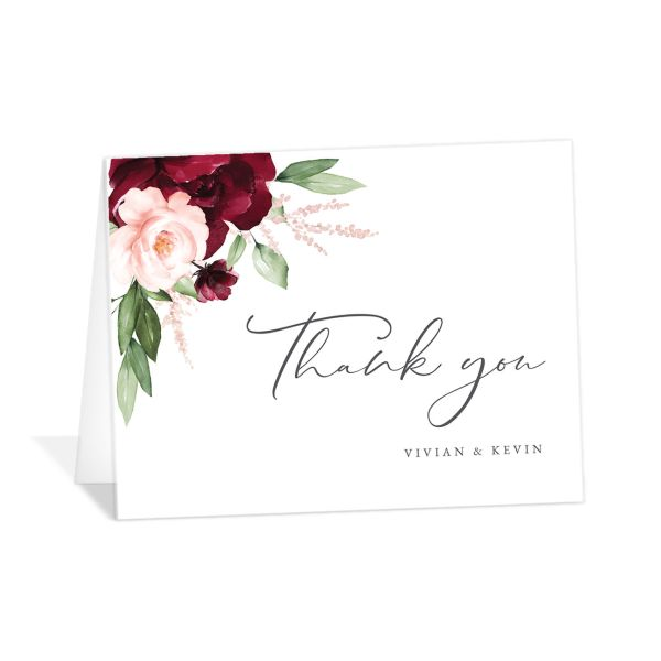 Beloved Floral Thank You Card front in red