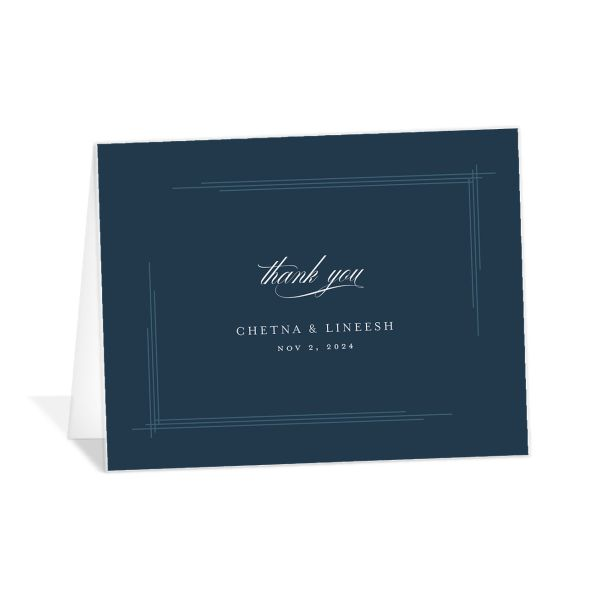 Elegant Accent folded Thank You Card front in blue