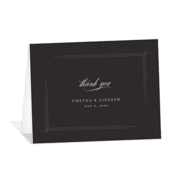 Elegant Accent folded Thank You Card front in grey