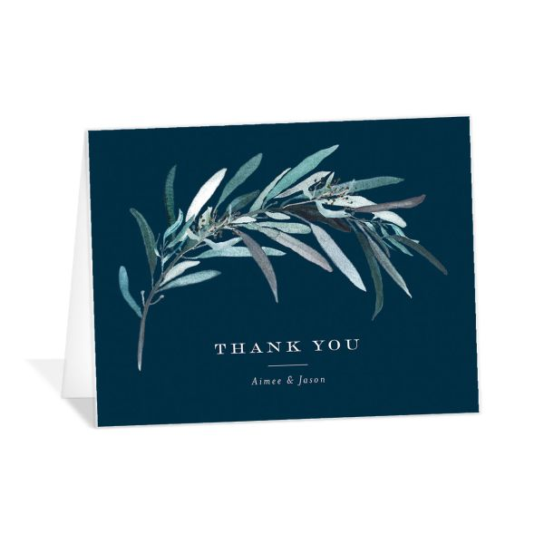 Lush Greenery Thank You Card in blue
