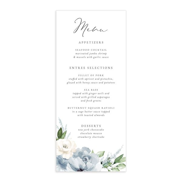 Beloved Floral Menu front in teal