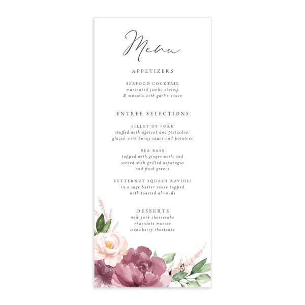 Beloved Floral Menu front in mauve