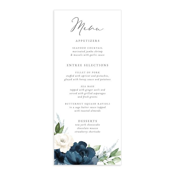 Beloved Floral Menu front in blue