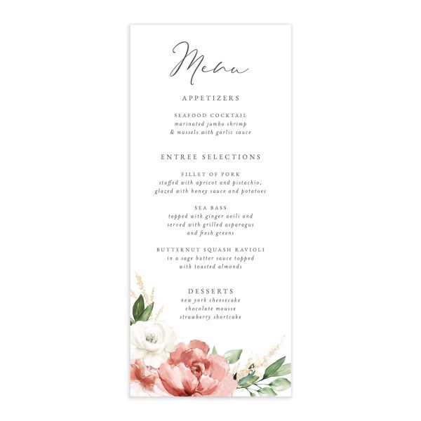 Beloved Floral Menu front in pink