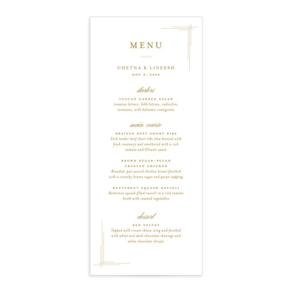 Elegant Accent Menu front in gold