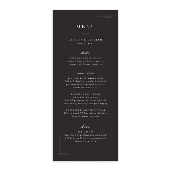 Elegant Accent Menu front in grey