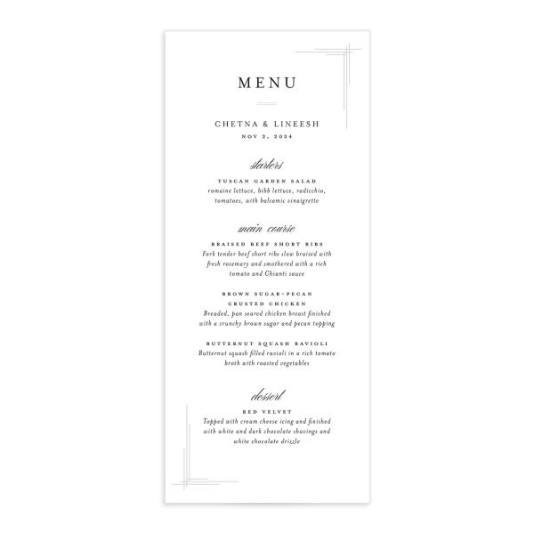 Elegant Accent Menu front in white