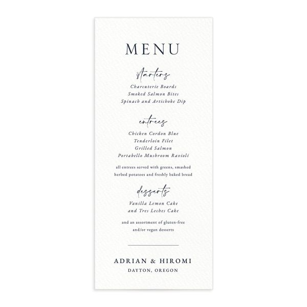 Layered Watercolor Menu Card front in navy
