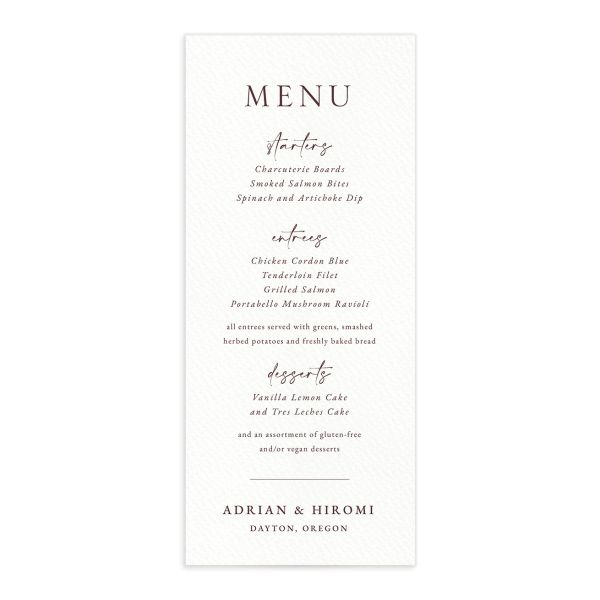 Layered Watercolor Menu Card front in pink