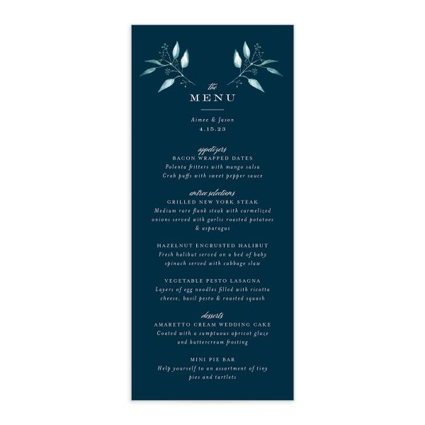 Lush Greenery Menu front in blue