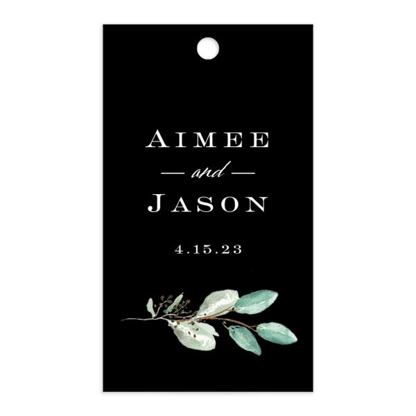 Lush Greenery Gift Tag front in black