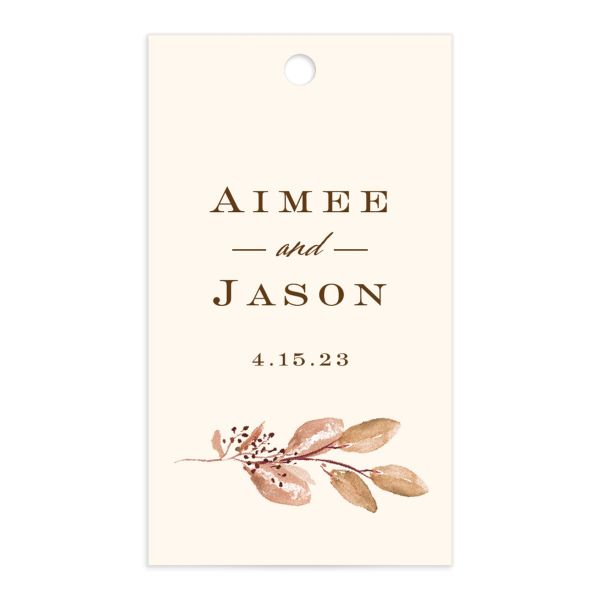 Lush Greenery Gift Tag front in brown