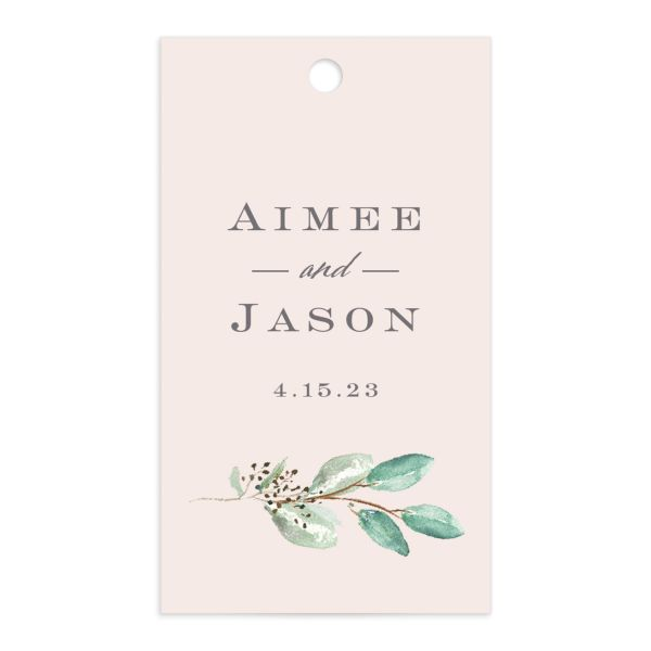 Lush Greenery Gift Tag front in pink