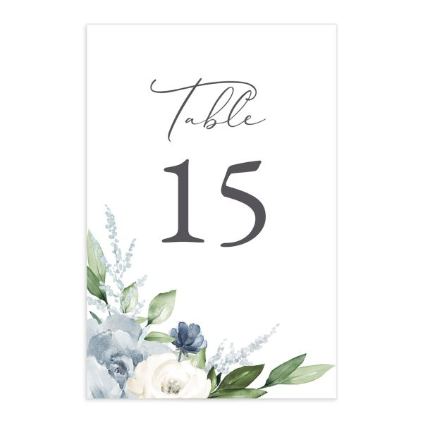 Beloved Floral Table Number front in teal