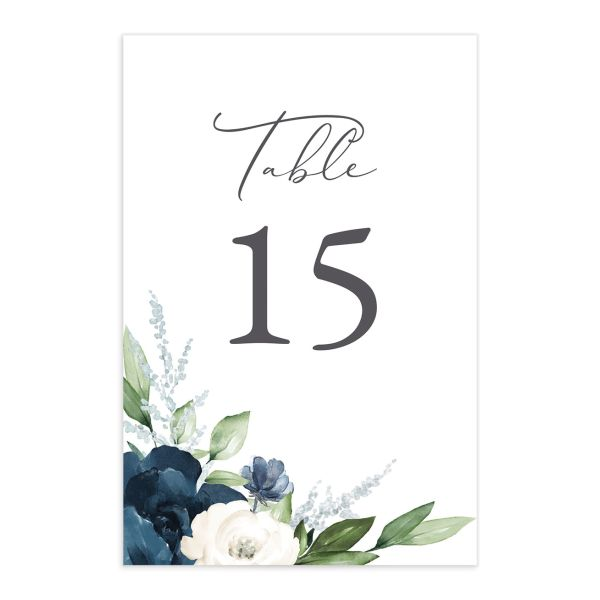 Beloved Floral Table Number front in blue