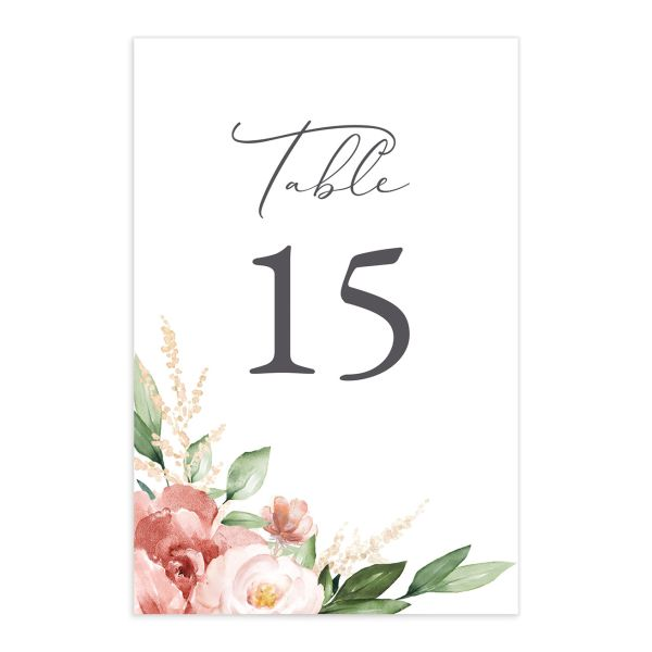 Beloved Floral Table Number front in pink