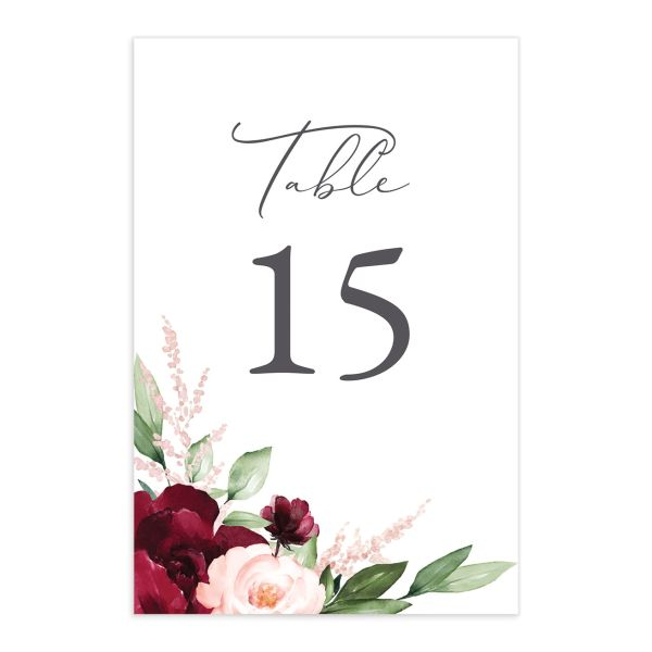 Beloved Floral Table Number front in red