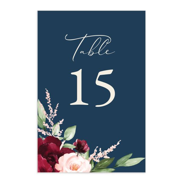 Beloved Floral Table Number front in multi