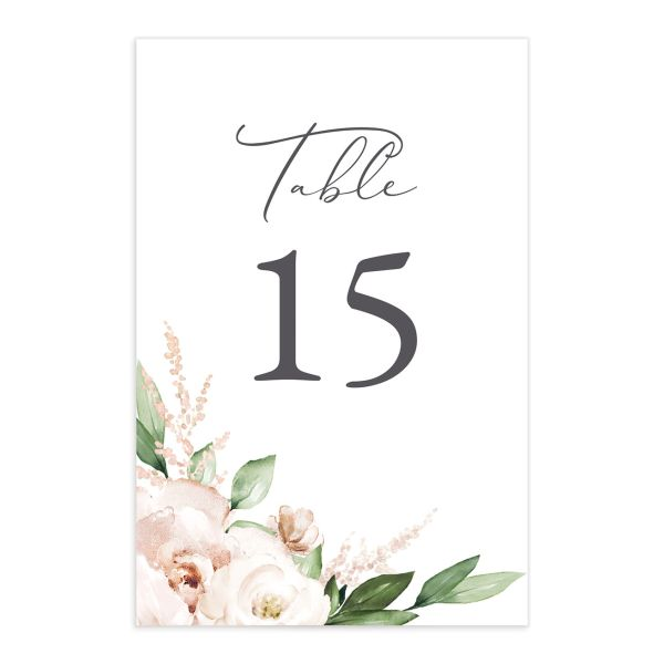 Beloved Floral Table Number front in white