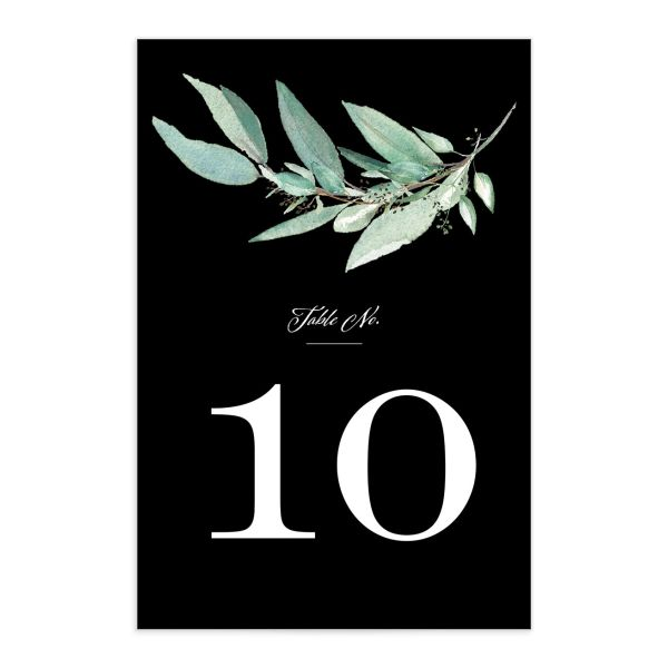 Lush Greenery Table Number front in black