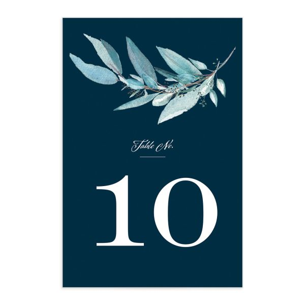 Lush Greenery Table Number front in blue
