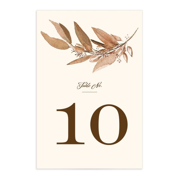 Lush Greenery Table Number front in brown
