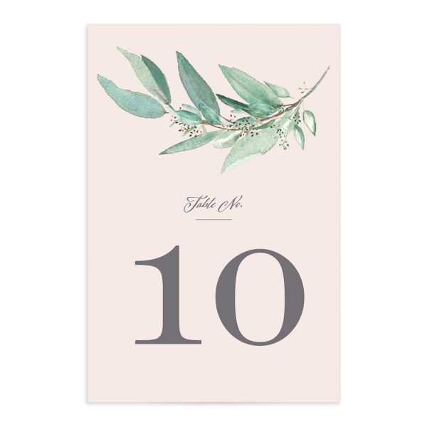 Lush Greenery Table Number front in pink