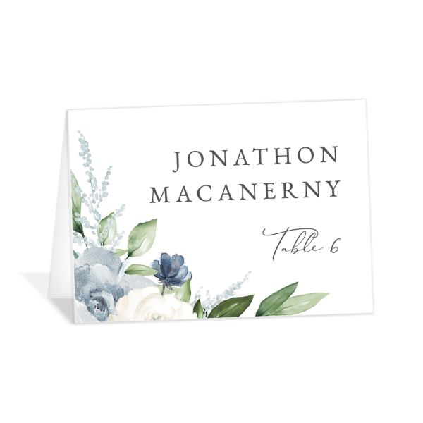 Beloved Floral Place Card front in teal