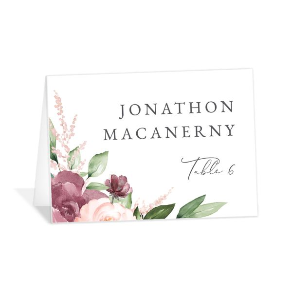 Beloved Floral folded Place Card front in mauve