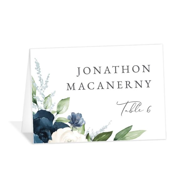 Beloved Floral Place Card front in blue