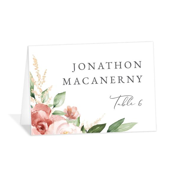Beloved Floral Place Card front in pink