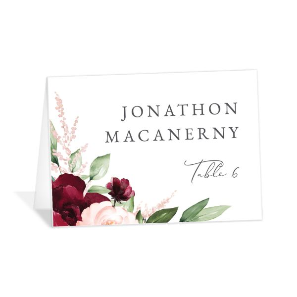 Beloved Floral folded Place Card front in red