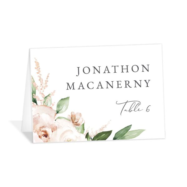 Beloved Floral Place Card front in white