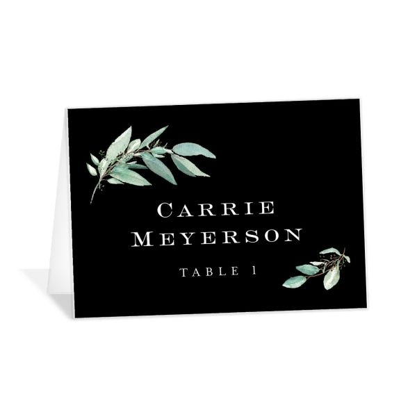 Lush Greenery Place Card in black