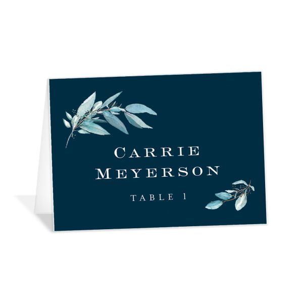 Lush Greenery Place Card in blue