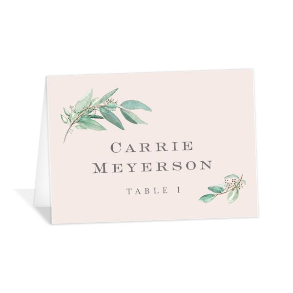Lush Greenery Place Card in pink
