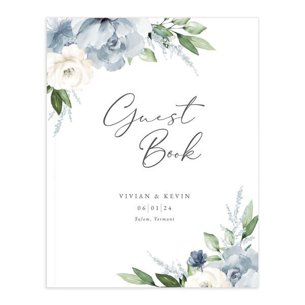 Beloved Floral Wedding Guest Book front in teal