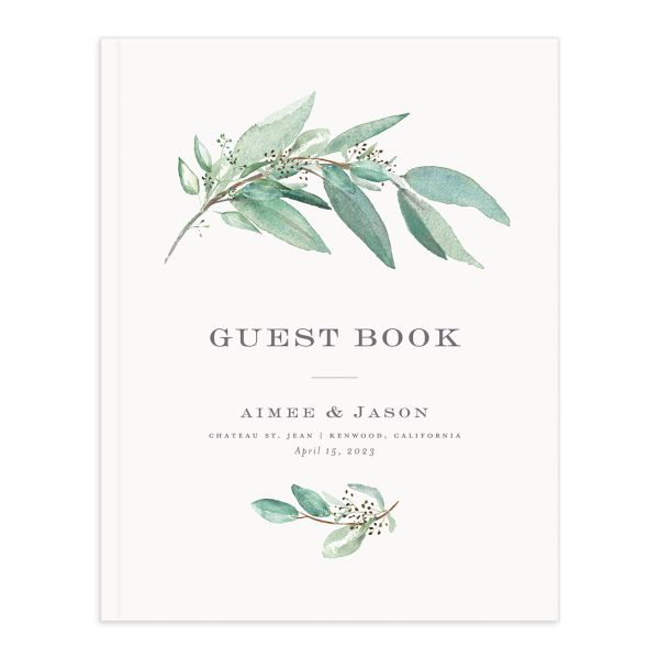 Lush Greenery Wedding Guest Book cover in green