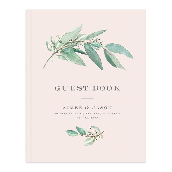 Lush Greenery Wedding Guest Book cover in pink