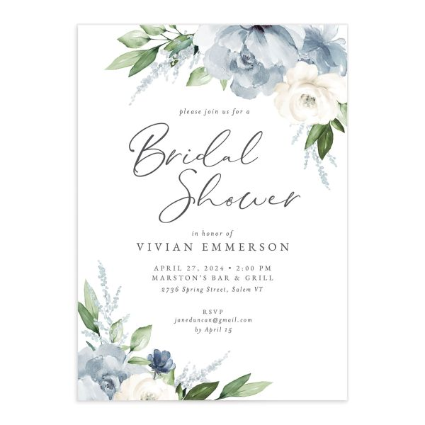 Beloved Floral Bridal Shower Invitation front closeup in teal