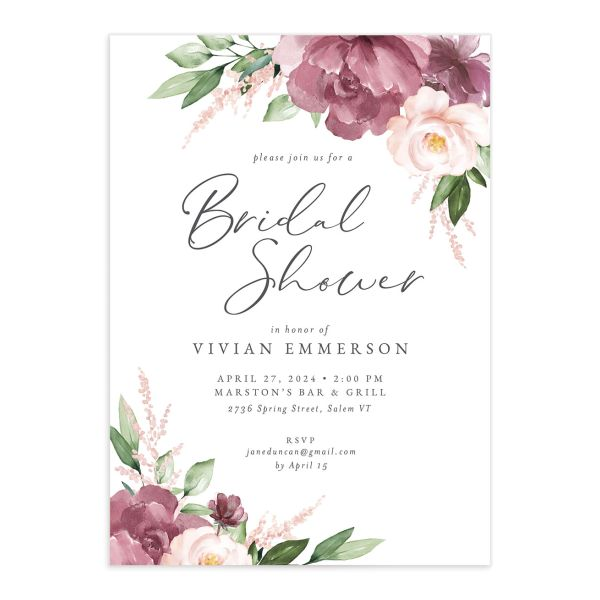 Beloved Floral Bridal Shower Invitation front closeup in mauve