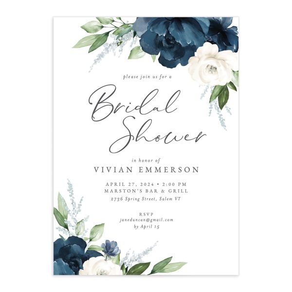 Beloved Floral Bridal Shower Invitation front closeup in blue