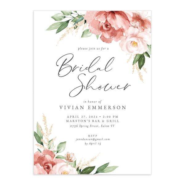 Beloved Floral Bridal Shower Invitation front closeup in pink