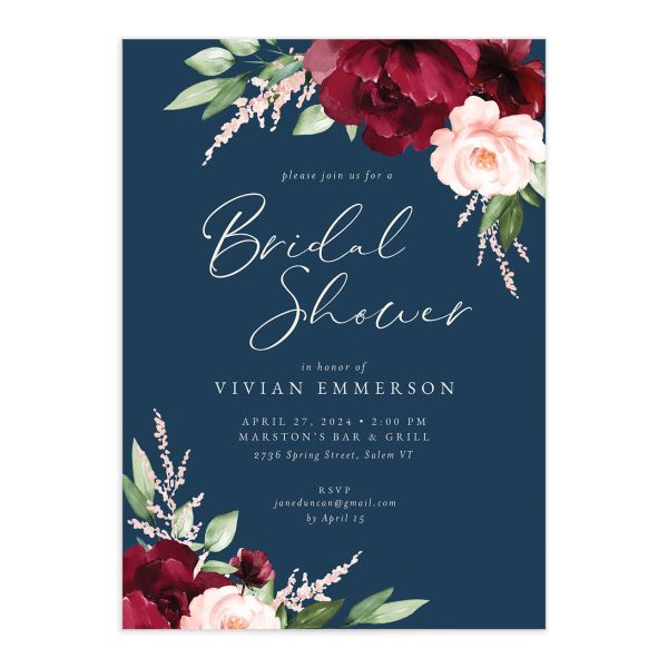 Beloved Floral Bridal Shower Invitation front closeup in multi