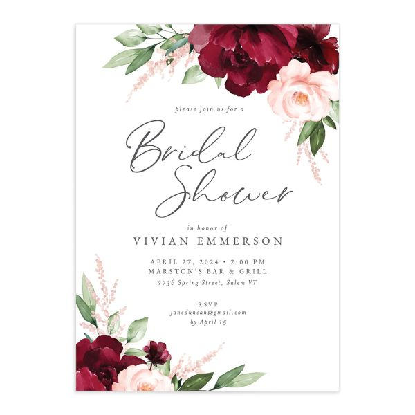 Beloved Floral Bridal Shower Invitation front closeup in red