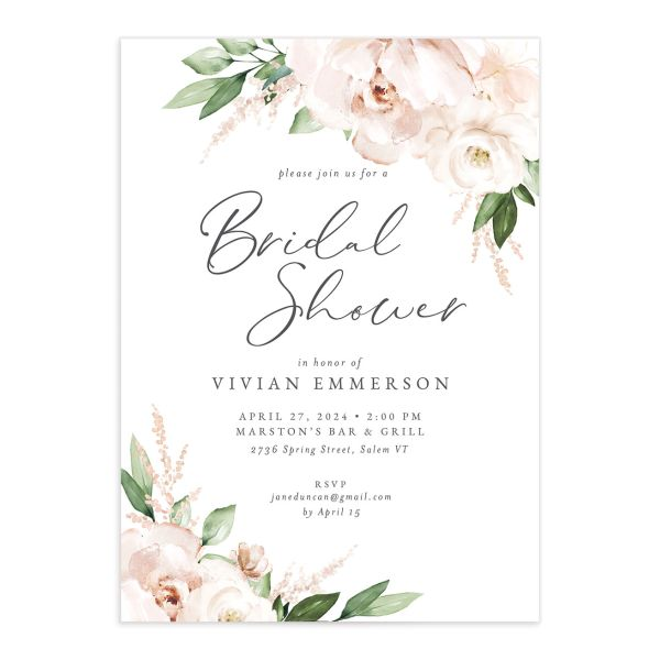Beloved Floral Bridal Shower Invitation front closeup in white