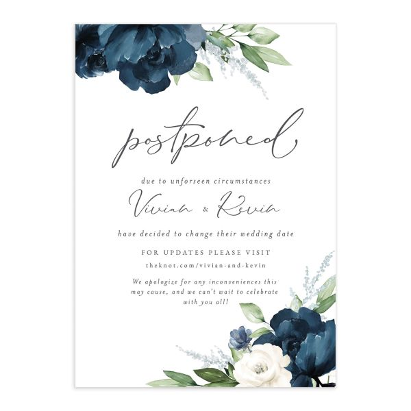 Beloved Floral Change the Date Card front closeup in blue