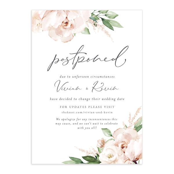 Beloved Floral Change the Date Card front closeup in white