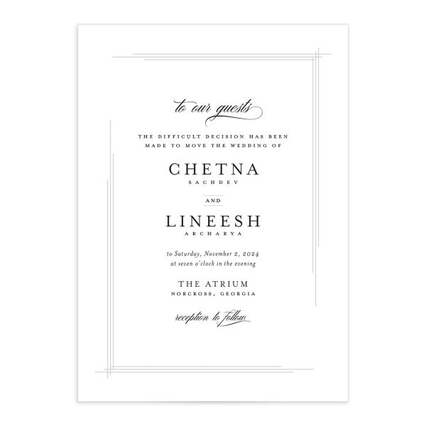Elegant Accent Change the Date Card front closeup in white